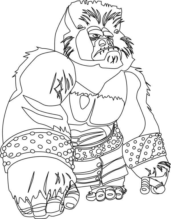 Step 8 : Drawing Cartoon Gorilla in Shen's Gorilla Army from Kung Fu Panda 2 in Easy Steps Lesson