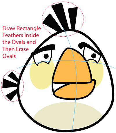 Step 8 : Drawing White Angry Bird in Easy Steps Lesson