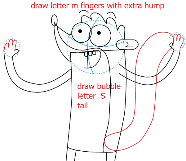 Step 8 : Drawing Rigby from Regular Show Easy Steps Lesson