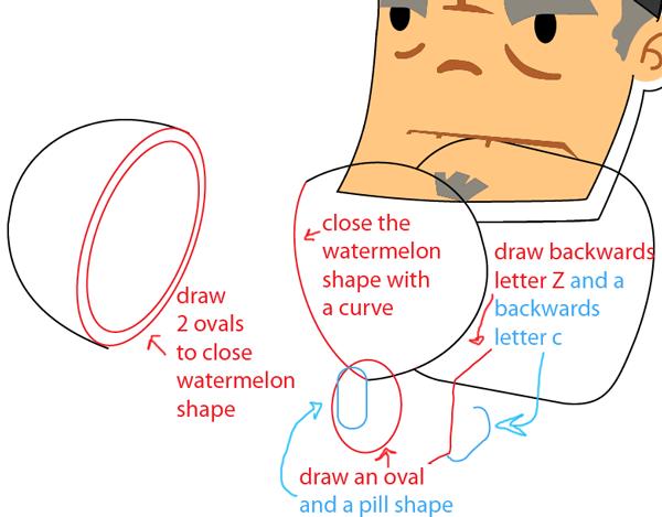Step 8 : Drawing Sensei from Fruit Ninja Game Easy Steps Lesson