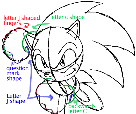 Step 8 : Drawing Sonic the Hedgehog in Easy Steps Lesson