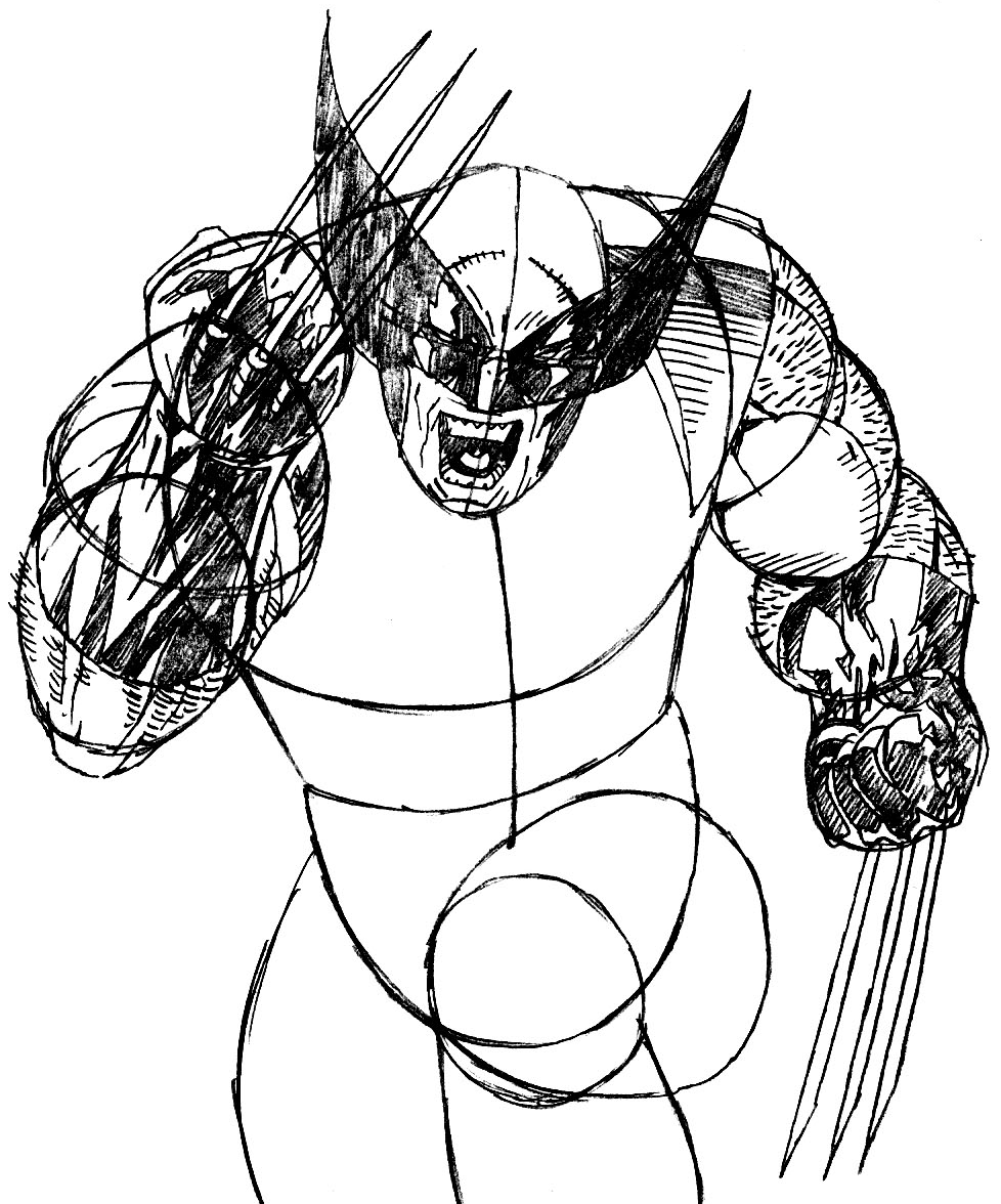 Step 8 : Drawing Wolverine from Marvel's X-Men Superhero Team Easy Steps Lesson
