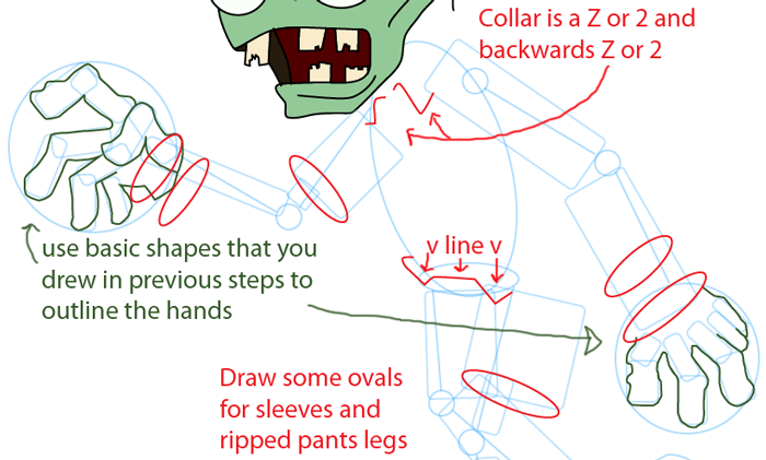 Step 9 : Drawing Zombie from Plants vs. Zombies Game in Easy Steps Lesson