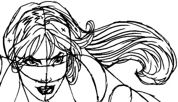 Step 9 : Drawing Rogue from Marvel's X-Men Superhero Team Easy Steps Lesson