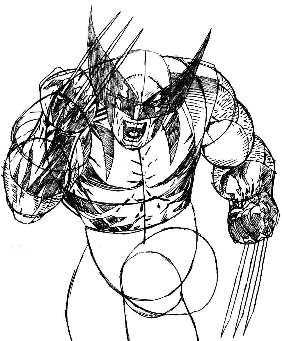 Step 9 : Drawing Wolverine from Marvel's X-Men Superhero Team Easy Steps Lesson