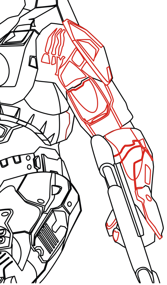 Step 9 : Drawing Master Chief from Halo in Easy Steps Lesson