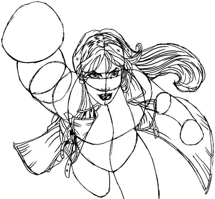 Step 10 : Drawing Rogue from Marvel's X-Men Superhero Team Easy Steps Lesson