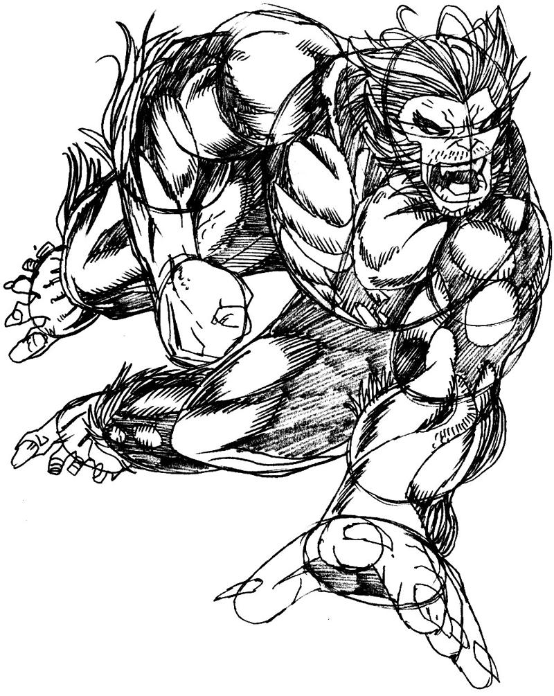 Step 10 : Drawing Beast from Marvel's X-Men Superhero Team Easy Steps Lesson