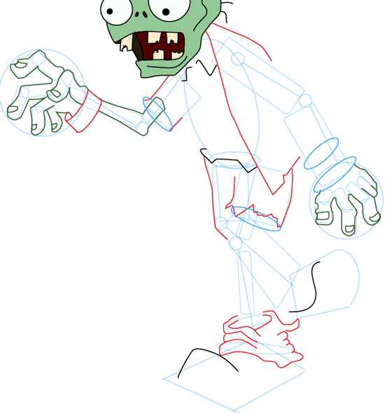 Step 10 : Drawing Zombie from Plants vs. Zombies Game in Easy Steps Lesson