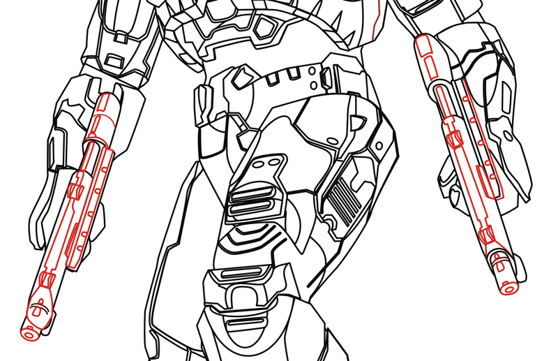 Step 11 : Drawing Master Chief from Halo in Easy Steps Lesson