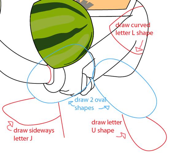Step 11 : Drawing Sensei from Fruit Ninja Game Easy Steps Lesson