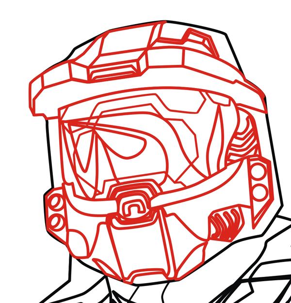 Step 12 : Drawing Master Chief from Halo in Easy Steps Lesson