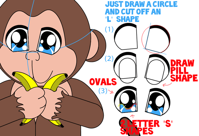 Step 12 : Drawing Baby Anime Monkey in Easy Steps Lesson
