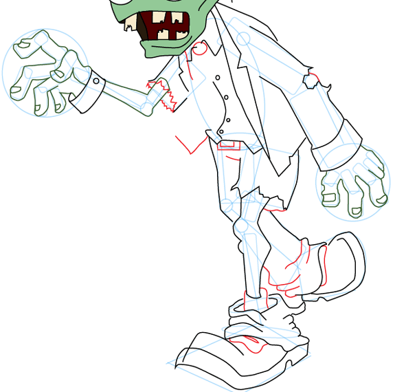 Step 12 : Drawing Zombie from Plants vs. Zombies Game in Easy Steps Lesson
