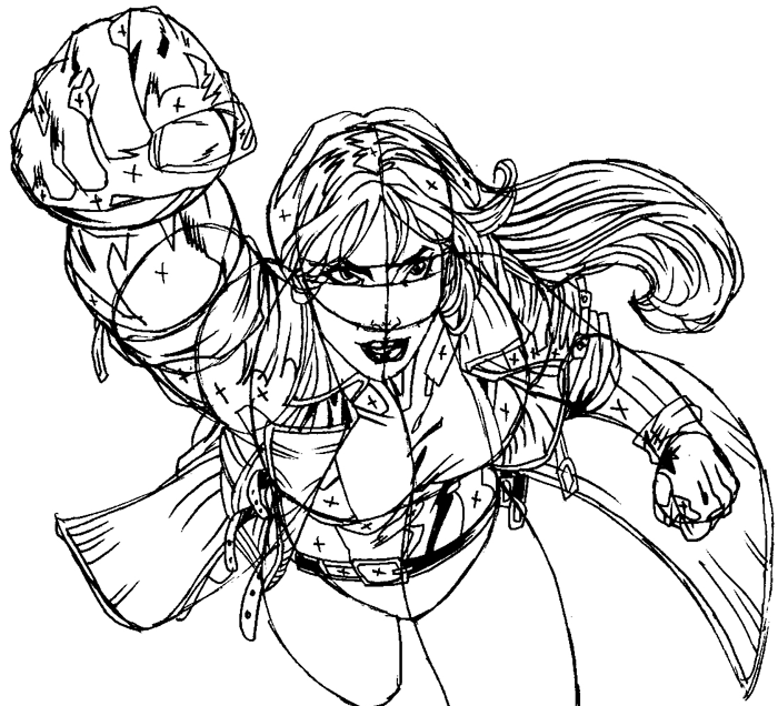 Step 12 : Drawing Rogue from Marvel's X-Men Superhero Team Easy Steps Lesson