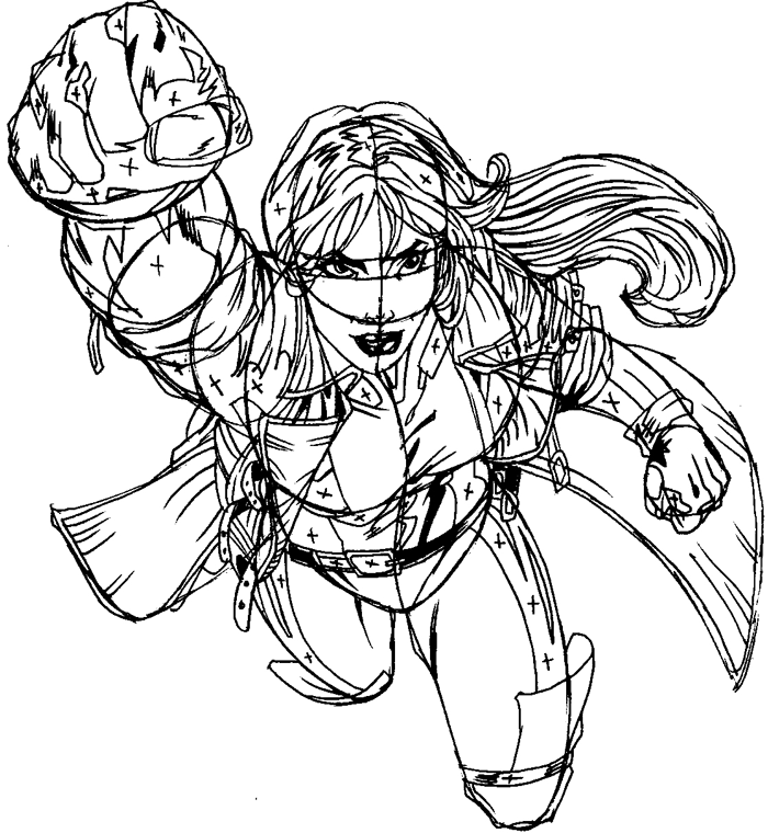 Step 13 : Drawing Rogue from Marvel's X-Men Superhero Team Easy Steps Lesson