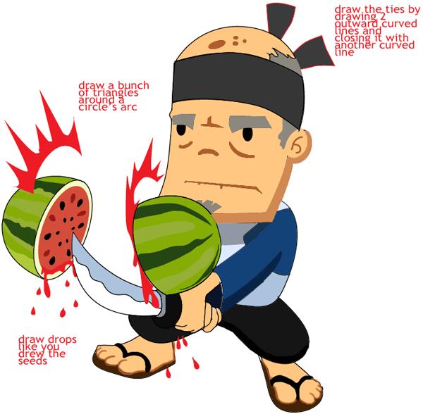Step 14 : Drawing Sensei from Fruit Ninja Game Easy Steps Lesson
