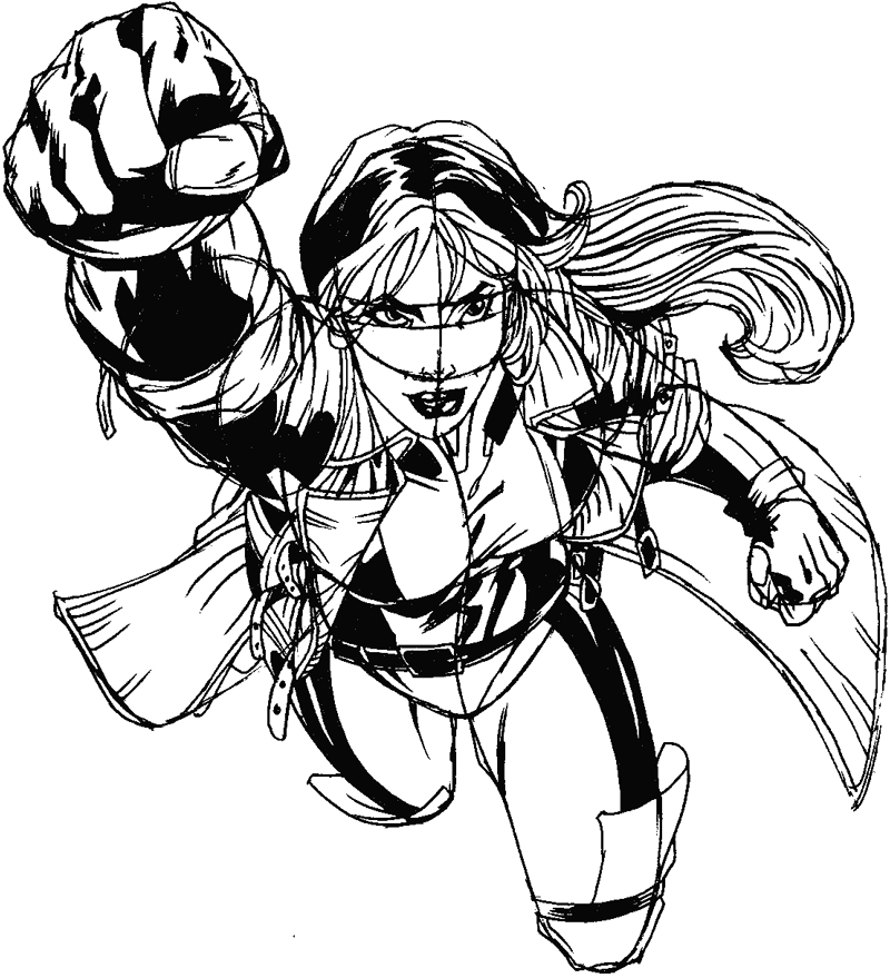 Step 14 : Drawing Rogue from Marvel's X-Men Superhero Team Easy Steps Lesson