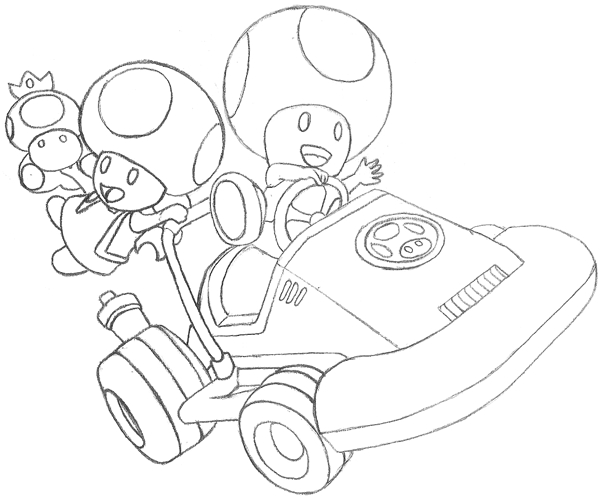 How To Draw Toad And Toadette From Wii Mario Kart With