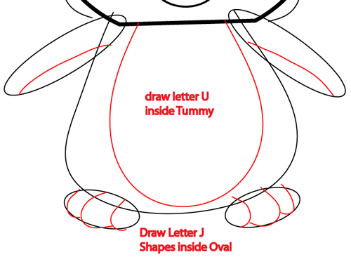 Step 6 : Drawing Cartoon Penguins in Easy Steps Lesson