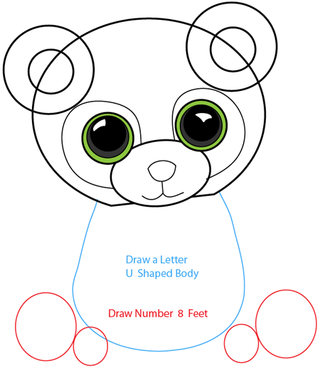 Step 6 : Drawing Cartoon Pandas in Easy Steps Lesson