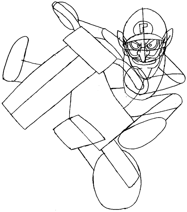 How to Draw Waluigi on a Motor Bike Motorcycle from Wii Mario Kart ...