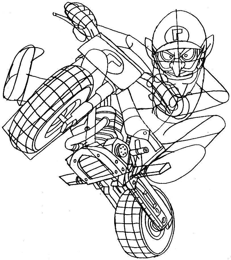 how to draw waluigi on a motor bike motorcycle from wii mario kart - page 3 of 3
