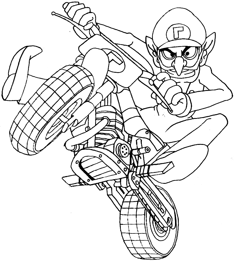 How to draw waluigi on a motor bike motorcycle from wii for Mario kart wii coloring pages
