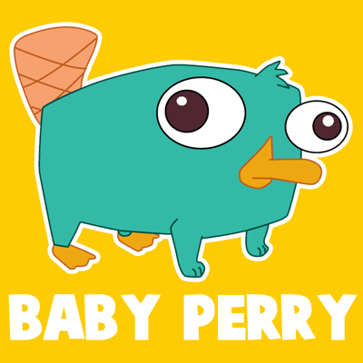 How to draw Baby Perry the Platypus from Phineas and Ferb with easy step by step drawing tutorial