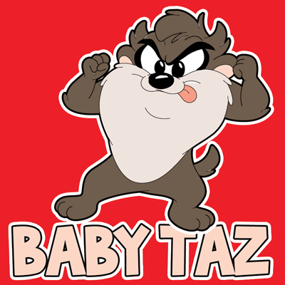 How to draw Baby Taz from TinyToons Adventures with easy step by step drawing tutorial