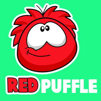 How to draw Red Puffle from Club Penguin with easy step by step drawing tutorial
