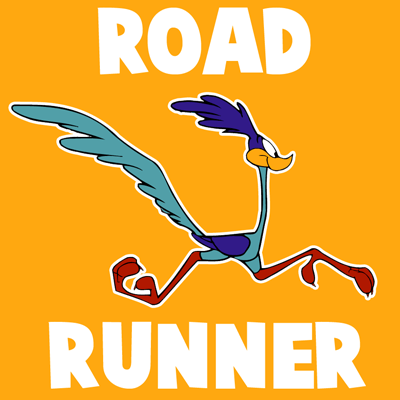 How to draw Road Runner from Looney Tunes with easy step by step drawing tutorial