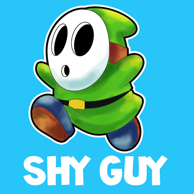 How to draw Shy Guy from Nintendo's Mario Kart Racing with easy step by step drawing tutorial