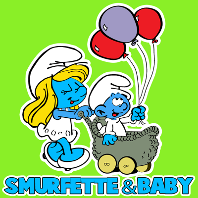 How to draw Smurfette and Baby Smurf from the Smurfs with easy step by step drawing tutorial