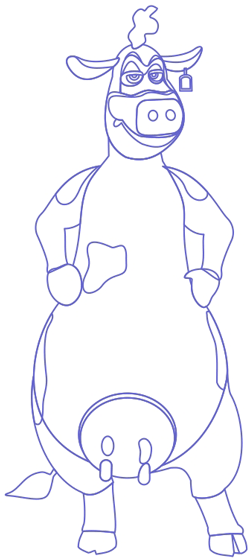 Step 7 : Drawing Shy Guy from Bessy the Brown Cow from Back at the Barnyard Easy Steps Lesson