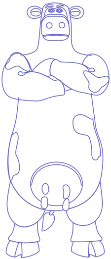 Step 7 : Drawing Big Bull from Back at the Barnyard Easy Steps Lesson