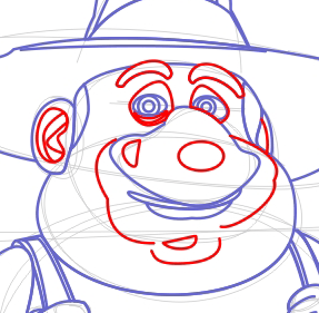 Step 7 : Drawing the Farmer from Back at the Barnyard Easy Steps Lesson
