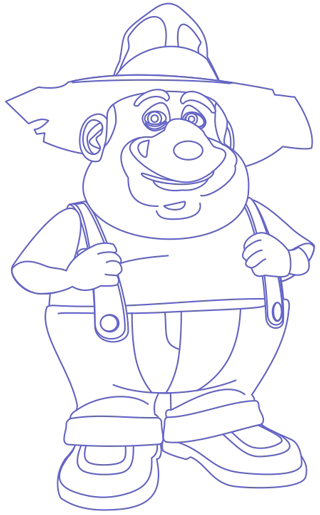 Step 8 : Drawing the Farmer from Back at the Barnyard Easy Steps Lesson
