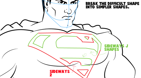 Step 16 : Drawing Superman Easy Steps Lesson