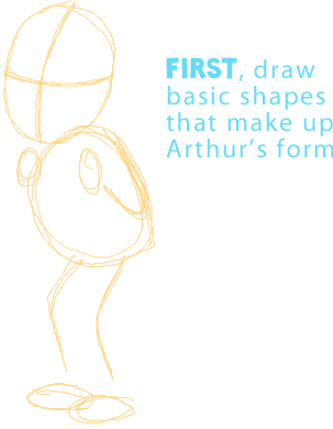 Step 1 : Drawing Arthur from PBS's Arthur Easy Steps Lesson