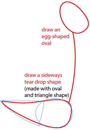 Step 1 : Drawing Road Runner from Looney Tunes Easy Steps Lesson