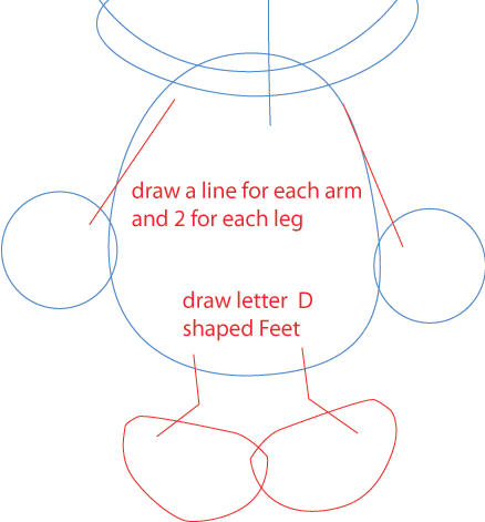 Step 3 : Drawing Baby Daffy Duck from TinyToons Adventures Easy Steps Lesson