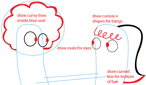 Step 3 : Drawing Oscar and Bea from Disney's Fish Hooks Easy Steps Lesson