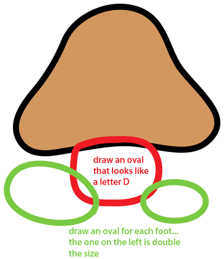Step 3 : Drawing Goomba from Nintendo's Super Mario Bros. Easy Steps Lesson