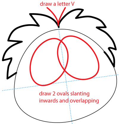 Step 4 : Drawing Red Puffle from Club Penguin Easy Steps Lesson
