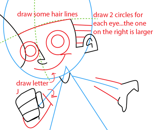 Step 4 : Drawing Johnny Test from Johnny Test Easy Steps Lesson