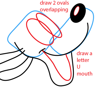 Step 4 : Drawing Disney's Pluto Easy Steps Lesson