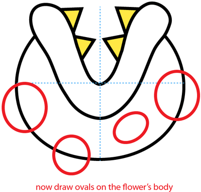 Step 4 : Drawing a Pirahna Plant from Nintendo's Super Mario Bros. Easy Steps Lesson