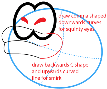 Step 4 : Drawing Sushie Fish from Nintendo's Super Paper Mario Easy Steps Lesson