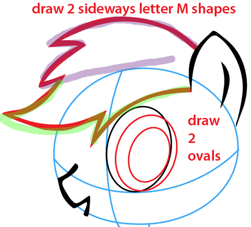 Step 4 : Drawing Rainbow Dash from My Little Pony Easy Steps Lesson